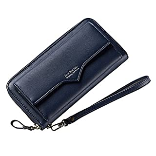 Wallets Women Leather Long, Aeeque Large Capacity Multifunction Lady Clutch Purses Pouch Zipper Passport Driving License Card Coin Money Bag, Phone Wallet Case for Samsung iPhone Huawei - Dark Blue
