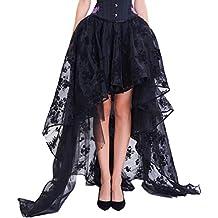 COSWE Damen Röcke Schwarz Punk Irregular Kleid Steampunk Cocktail Chiffon Spitze Party Rock Cosplay