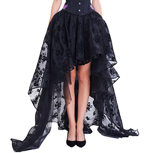 COSWE Damen Röcke Schwarz Punk Irregular Kleid Steampunk Cocktail Chiffon Spitze Party Rock Cosplay