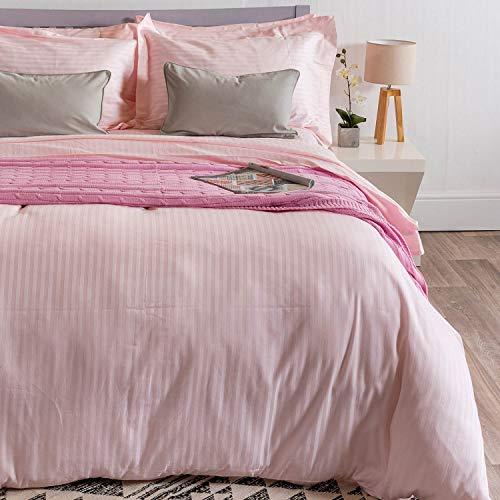 Homescapes 2 teilige Damast Bettwäsche 135 x 200 cm rosa 100% reine ägyptische Baumwolle Fadendichte 330