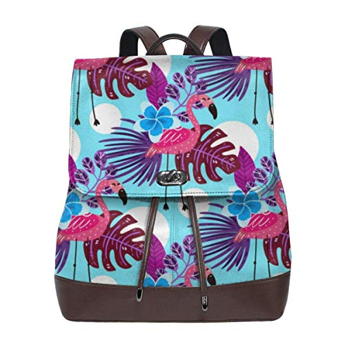 Flyup Women's Leather Backpack Summer Tropical Flamingo School College Bag Elegant Casual Daypack Travel Shoulder Bag For Girls Frauen Leder Rucksack - Bradley Aus Vera Handtaschen Leder