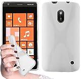 Cadorabo - Custodia silicone TPU X-Line Design per Nokia Lumia 620 - Case Cover Involucro Bumper Astuccio in BIANCO-FLOREALE
