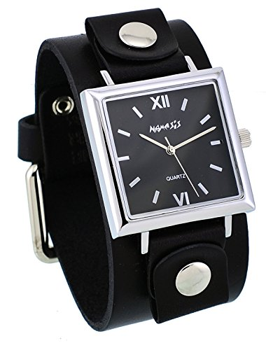 Nemesis #GB225K Women's Conservative Collection Square Black Dial Wide Leather Band Watch