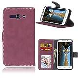 Telefono Caso per Alcatel One Touch Pop C9 7047A 7047D ,PU Custodia In Pelle 3 Carte Slot Credito Flip Cover Case Chiusura Magnetica(Rosa)