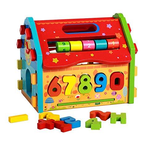 SHOH Weihnachten Kinder Holzspielzeug Activity House, Holz Multifunktionale Demontage Weisheit Haus Kinder Form Farbe Kognitiven Passenden Puzzle-Spielzeug, Frühes Lernen Puzzle-Spielzeug Für Baby
