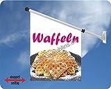Werbeflagge (Fahne mit über 50 Varianten, Text und Bild, z.B. Eis, Döner, Kaffee, Crepes, Waffeln, Pommes uvm.) Ideal für Kiosk, Restaurant oder Kirmes, weiß (Waffeln Teller)