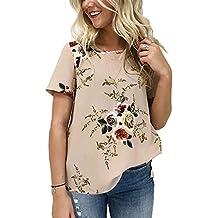 CODIFFEREN Damen Blumendruck Kurzarm Rundhals Chiffon Bluse Tops T-Shirt