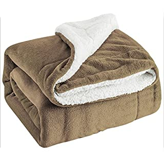 Bedsure Sherpa Throw Blanket Brown Travel/Single Size (130 x 150cm) Fleece Bed Throws Warm Reversible Microfiber Solid Blankets for Bed and Couch