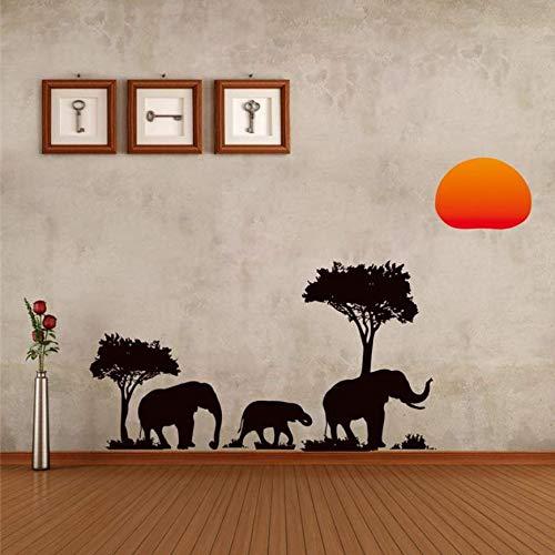 CFLEGEND Árbol Negro Elefantes Pegatinas De Pared Sala De Estar Decoración para...