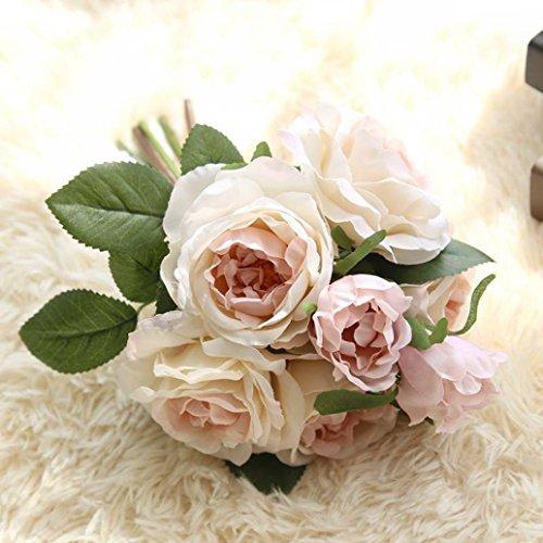 Longra Wohnaccessoires & Deko Kunstblumen Künstliche Seide Kunstblumen 9 Köpfe Blatt Hochzeit Blumen Dekor Bouquet Rose (04A: 1 Strauß)