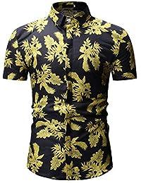 d5ca14d75 Soporte de Camisa de Manga Corta con Estampado de Flores para Hombre