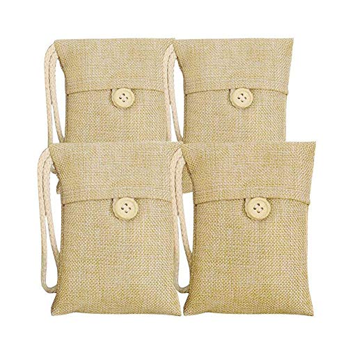 Folconauto, Confezione da 4 Sacchetti Decorativi in Carbone di bambù, Deodorante per Ambienti, elimina odo