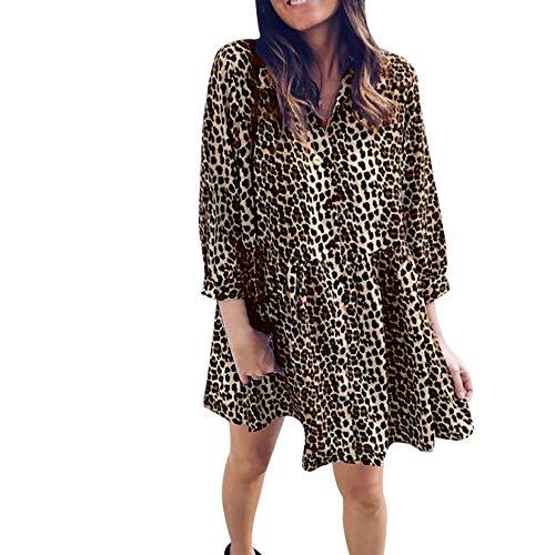 312a31bb8d412f DoraMe Vestito da Donna Elegante, Leopardato Vestito Senza Maniche Strette  Bodycon Vestiti (L,