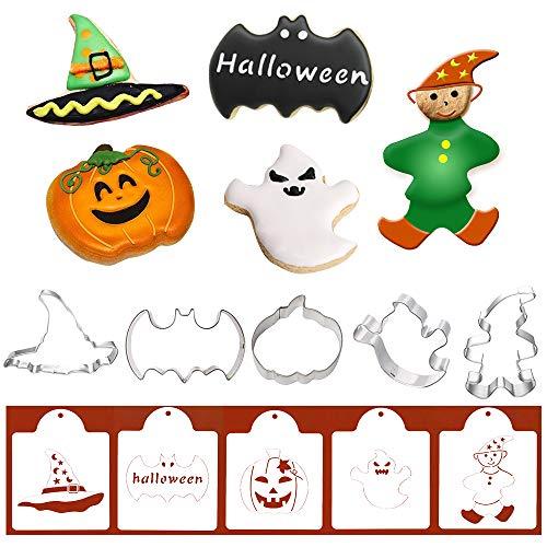 Halloween-Ausstechformen mit passenden Plätzchen-Schablonen - Set von 10-5 Ausstechformen und 5 Schablonen, inklusive Fledermaus, Kürbis, Geister, Magier und Hexenhut