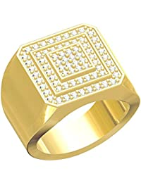 Spangel Fashion Designer 18 Ct. Gold Plated American Diamond Jewellery Ring For Men - B078571V7Y