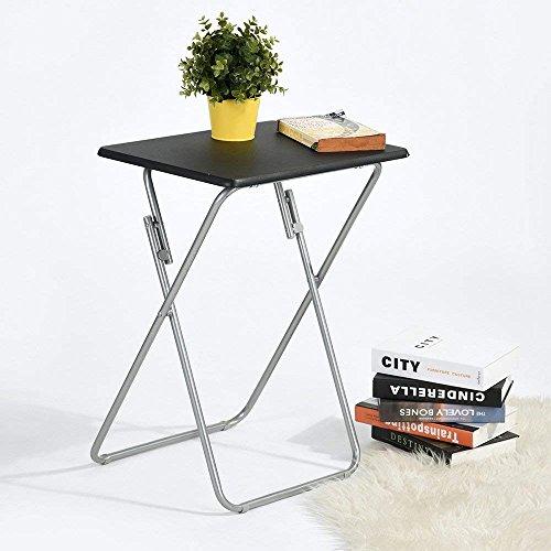 Aingoo Stehtisch Beistelltisch Klapptisch Kaffeetisch Campingtisch Metallgestell mit Holztischplatte für Wohnzimmer Balkon Garten Schwarz