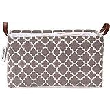 Moroccan lattice modello tela cesto portaoggetti pieghevole design geometrico contenitore con coulisse copertura e manici in pelle PU,16.5 da 30 cm,impermeabile interno Marocchino Medium Lattice/Grey
