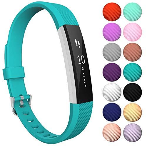 Yousave Accessories® Armband kompatibel für Fitbit Alta und Alta HR, Ersatzarmband – Silikon Wristband Zubehör für Alta und Alta HR – Erhältlich in 11 (Klein, Cyan)