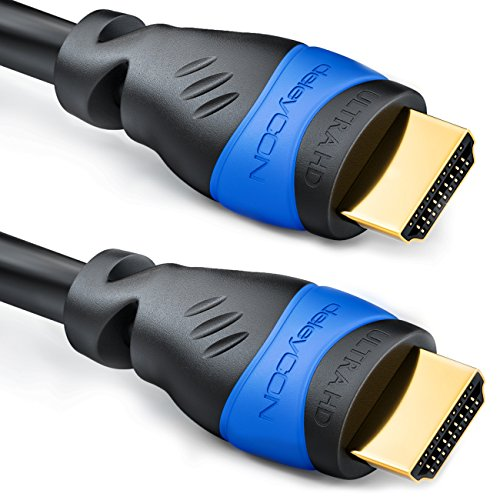 deleyCON 2m HDMI Kabel   HDMI 2.0 / 1.4a kompatibel   High Speed mit Ethernet (Neuster Standard)   ARC   3D   4K Ultra HD (1080p/2160p)