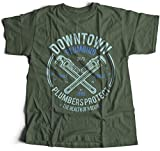 Flamentina A002-046mg Downtown Plumbing Herren T-Shirt Daily Service Plumbers Protect Health of Nation Wrench Maintenance(Small,Militarygreen)