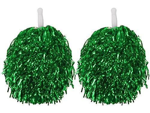 1 Paar Gerade Hand Shank Cheerleader Pompons,Tanzwedel,Glitzer-Püschel,Fasching Karneval (GRÜN) (Cheerleader-grün)