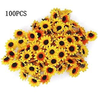 SALAKA 100 Piezas de Flores de Gerbera Artificial Girasol Artificial Amarillo Cabeza de Margarita Artificial para Fiesta de Boda DIY