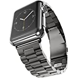 MPTECK @ 38mm Noir Black Bande Montre Bracelet Watch Strap Rechange Inoxydable pour Apple Watch APPLE WATCH Apple Watch Séries 1 Series 2