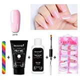 Poly Gel Nagel Verlängerung kit-aolvo Quick Building Finger Verlängerung Enhancement Tool Building Gel + 100PS Nail Tipps Form + Rainbow Nagelfeile + Poly UV Gel Nagel Liquid rutschfest Lösung + Dual Head Nail Pinsel