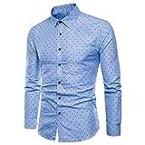 UJUNAOR Herren Shirt Langarm Formelle beiläufige Anzüge Slim Fit T-Shirt Hemden Bluse Top Oktoberfest(Blau,CN M)