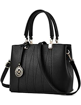 DcSpring Damen Handtasche PU Leder Ledertasche Umhängetasche Schultertasche Tasche Shopper Elegante Mode Groß...