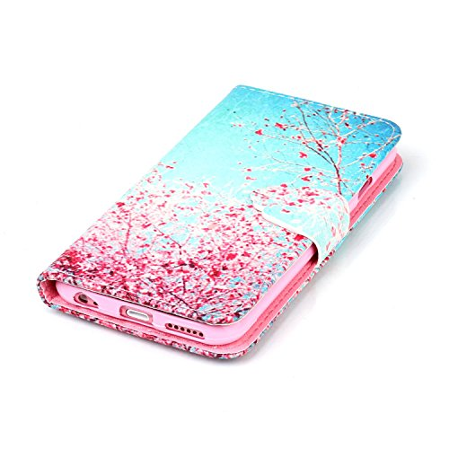 Antichoc Anime Coque Pour iPhone 6S,iPhone 6S Etui en PU Cuir Portefeuille Coque Bookstyle Étui Folio Housse pour iPhone 6 4.7 Pouce,iPhone 6S Flip Wallet Leaher Case Cuir,iPhone 6S Etui de Protection Animal Flower 10