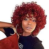 DANTB Lockiges Haar Perücken Für Rot Frauen, Natur Grau Haar Perücken Für Rot Frauen, Gelockt Perücke, Lockiges Rot Perücken Echthaar Kurz Flauschig, Gewellt, Volle Synthetik Perücken 34 cm 150 G