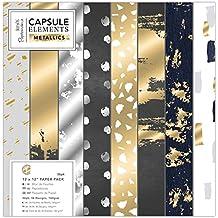 Docrafts Papermania Papierblock 30. 5 x 30. 5cm (36 Blatt) - Capsule Collection - Elements Metallic