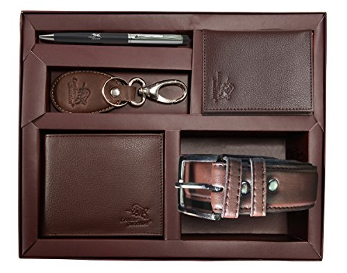 Leather Junction Combo Of Wallet, Belt, Card Holder, Key Ring & Pen For Men(Brown)