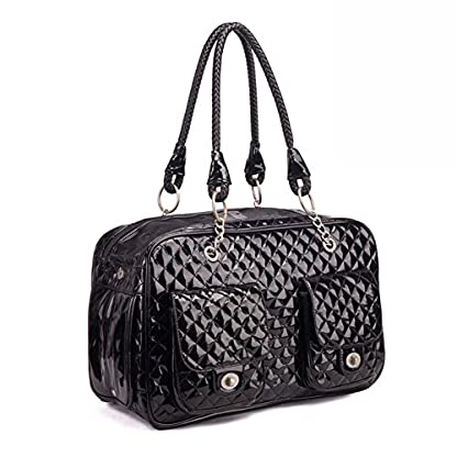 """B-JOY High Quality Pet Carrier Dog Tote Bag Soft PU Leather Quilted Carrier Puppy Handbag Travel Purse - 17"""" by 8.5"""" by 10.5 (Black) 2"""