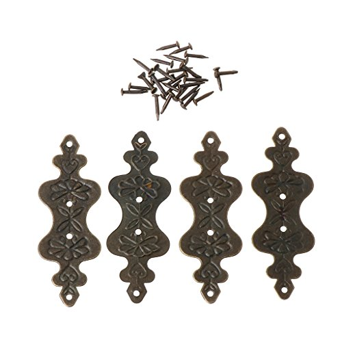 Ruda Eckenschutz aus antikem Messing, dekorative Schmuck-Geschenkbox, für Album, Füße und Beine, 4 Stück