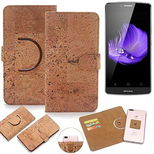 K-S-Trade Schutz Hülle für TP-LINK Neffos C5L Handyhülle Kork Handy Tasche Korkhülle Schutzhülle Handytasche Wallet Case Walletcase Flip Cover Smartphone