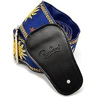 Correa de piel ajustable para guitarra, estilo sol y tejido Jacquard, de Bestsounds, azul