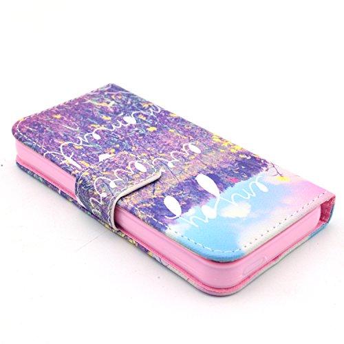 MOONCASE iPhone 5 Case Motif Conception Coque en Cuir Portefeuille Housse de Protection Étui à rabat Case pour iPhone 5 5S P26