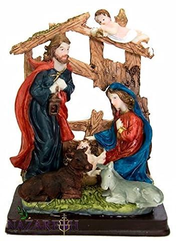 Crèche de Noël musical Jésus Sculpture 19,1cm Hauteur Statue fait à la main terre Sainte