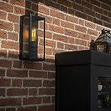QAZQA Moderne Applique murale extérieure moderne rectangulaire noire avec verre -...