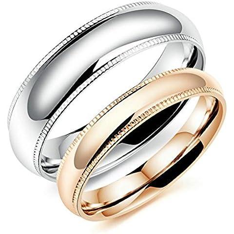Bishilin 2Pcs Set Acciaio Inossidabile Rosa Placcato Oro 6MM   4MM Fedi Nuziali Coppia per (Oro Celtica Claddagh Croce)