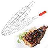#5: vellex BBQ Barbeque Fish Steel Grill Net Basket.