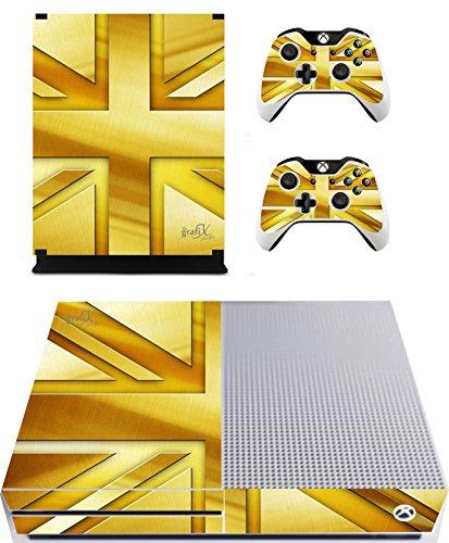 The Grafix studio Gold Union Jack Sticker/Skin Xbox One S Konsole und Fernbedienung Controller Aufkleber, xbs11