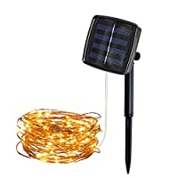 Zolimx Zolimx 5M 50Lights Outdoor Solar Powered Copper Wire Light String Rope Lights Fairy Party Decor Rope Lights Mains Powered Battery Solar Outdoor LED Waterproof (Yellow)