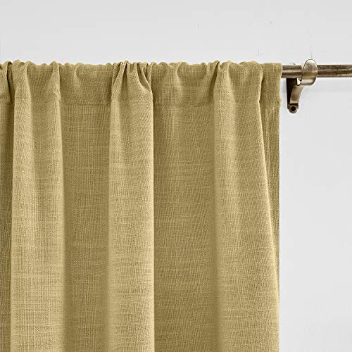 ChadMade 305 x 214 cm (B x L) Khaki Gelb Leinen mit Blackout Lining Vorhang, Blickdicht Vorhänge Rod Pocket Gardinen für Glas-Schiebetüren, Terrassentüren, Wohnzimmertür (1 Panel)