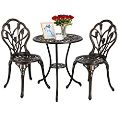 Idea Regalo - Yaheetech Tavolo e Sedie da Giardino Balcone 1 Tavolo e 2 sedie 3 Pezzi in Lega di Alluminio Bronzo