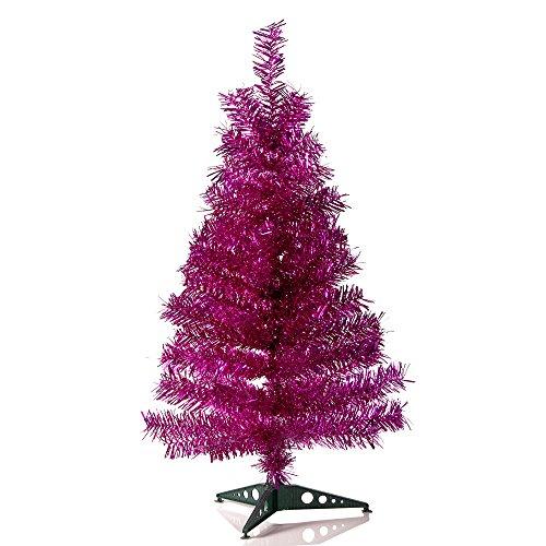 HAB & GUT (XM143) Albero di Natale artificiale / abete colorato FUCSIA metallizzato - Altezza: 90 cm