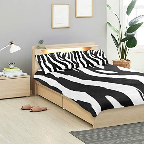 MALPLENA Malpela Kinder Quit Set Zebra Skin Muster 100% Baumwolle Tagesdecke Twin Size Bezug mit 2 Kissenbezügen, 3-teilig
