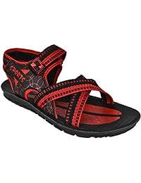 World Wear Footwear Men's Canvas Black/Red Sandals & Floaters-8